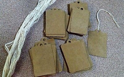 100 Retail Price Tags Rustic Brown Card Stock That Comes Wstring Gift Bag Tags