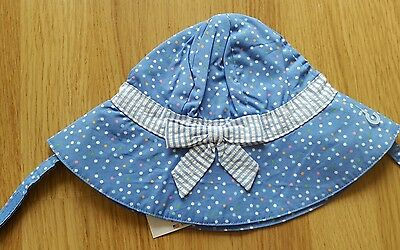 Gymboree baby girls blue polka dot sunhat 12-18 months bnwt