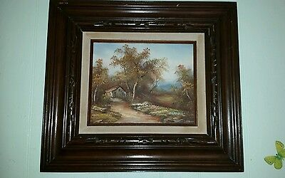 Vintage Mexican Oil Painting Wooden Framed 18  16   Fall Time Tones Signed