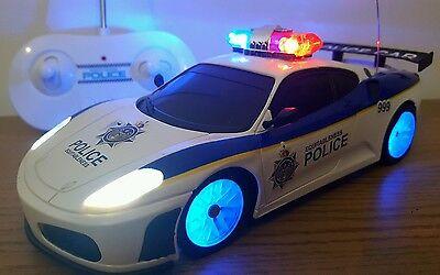 POLICE CAR FERRARI RADIO REMOTE CONTROL CAR FLASHING LEDS SIREN SOUND  BOYS TOYS