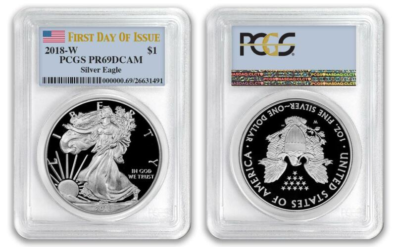 2018 W $1 American Proof Silver Eagle PCGS PR69DCAM First Day of Issue FDOI