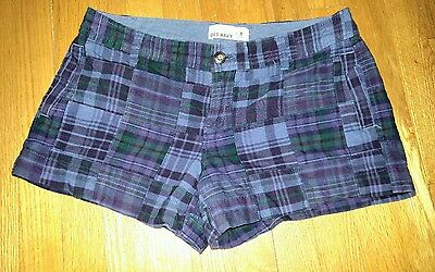 Womens Old Navy Madras Booty Shorts, Blue-Purple Unique-Sz. 8 - Purple Booty Shorts