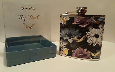 (NEW Lady Design 5.75oz Stainless Steel Hip Flask Flower Gold tone Butterflies)