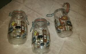 3 RARE VINTAGE FRANCE GLASS ARC NIVEAU DE REMPLISSAGE JARS