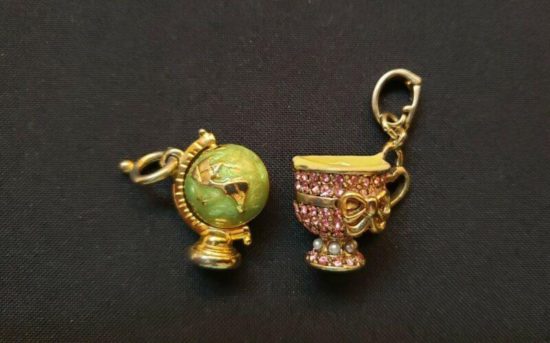 Charms rhinestone enamel world teacup
