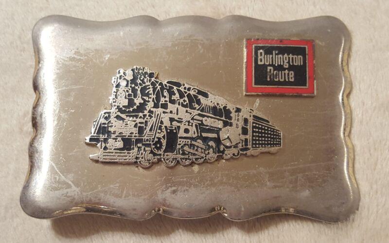 Vintage Burlington Route Train Railroad Belt Buckle Railway collectible