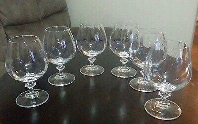 6 Cognac/Brandy Clear Crystal Glasses  Clear Crystal Brandy