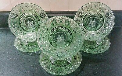 "6 Vintage Green Sandwich Glass Plates 7 1/4"" Anchor Hocking"