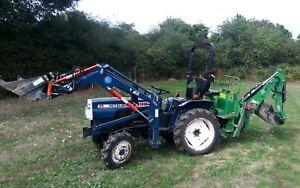 Mitsubishi D1650 Compact Diesel Tractor, Front Loader, Backhoe, Topper
