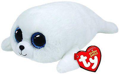 "Ty 13"" Medium ICY White Seal Beanie Boos Plush Stuffed Animal Heart Tags MWMT's"