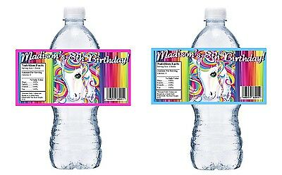 Water Bottle Wrappers (RAINBOW UNICORN PERSONALIZED BIRTHDAY PARTY FAVORS WATER BOTTLE LABELS)