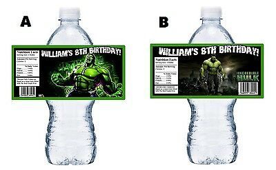 20 THE INCREDIBLE HULK CUSTOM BIRTHDAY PARTY FAVORS WATER BOTTLE LABELS WRAPPERS](Hulk Party Supplies)