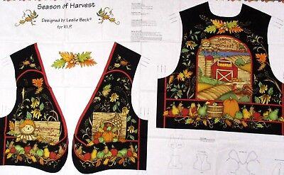 Thanksgiving Fall Vest Pattern Cut n Sew Fabric Panel Adult