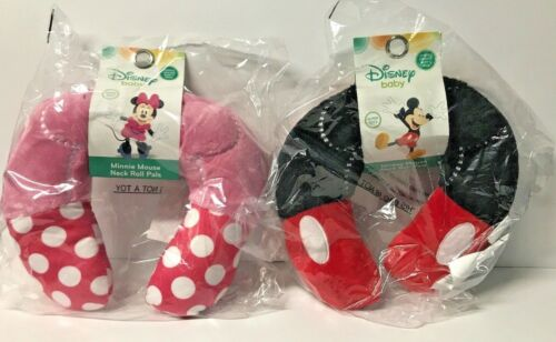 Disney Mickey/Minnie Mouse Neck Roll Super Soft Travel Neck Pillow (Set Of 2)