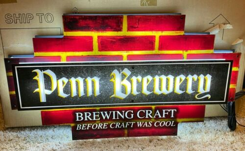 RARE PENN BREWERY BRICK LED SIGN-PITTSBURGH-BEER-LIGHT-PILSNER-LAGER-NEW IN BOX
