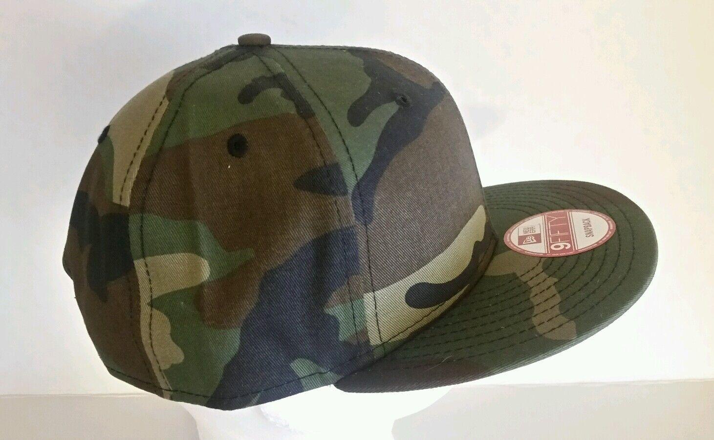 New Era 9Fifty Flat Snapback Hat Cap Blank Camouflage Army