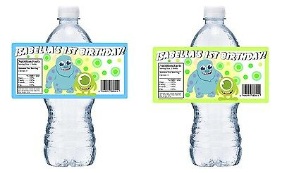PERSONALIZED BIRTHDAY PARTY FAVORS ~ WATER BOTTLE LABELS (Baby-monsters Inc)