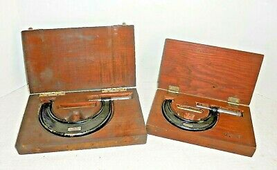 2 Vintage Jt Slocomb Micrometers 2-3 3-4 Adjustable In Wooden Storage Boxes