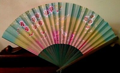 Japanese Fan Hand Painted Cherry Blossoms Finches Birds Flowers Vtg Antique Art