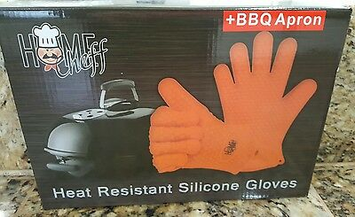 Heat Resistant Gloves 1 Pair - With Apron Best Silicone Oven Mitts - Cooking