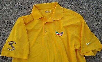 Nike Mens Large Golf Polo Shirt Yellow Italian Classic Stay Cool Dri-Fit Flags ()