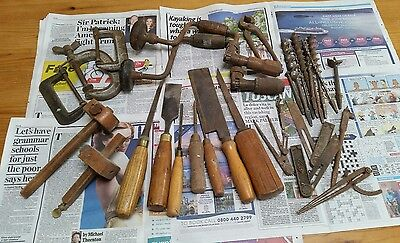 Collection of old antique tools