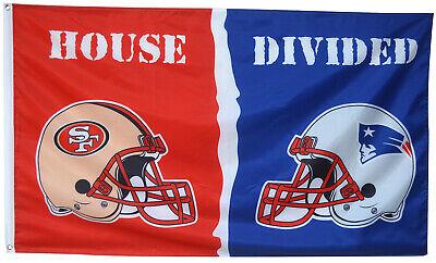 SAN FRANCISCO 49ers VS New England Patriots House Divided Flag 3x5 ft NFL Banner