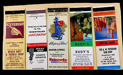 Vintage Match Cover. 5 Florida, Fishing, Mercury And Evinrude Outboard Motors.