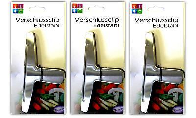 3x Metal Clip de Film Transparente Cocina Sistema Cierre Tuetenclip