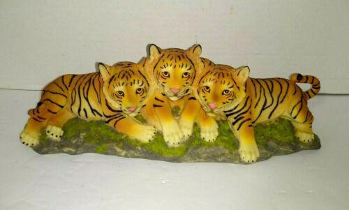 VTG 3 Cubs Bengal Tigers Statue Figurine Safari Wildlife Wild Cat Animal Figure
