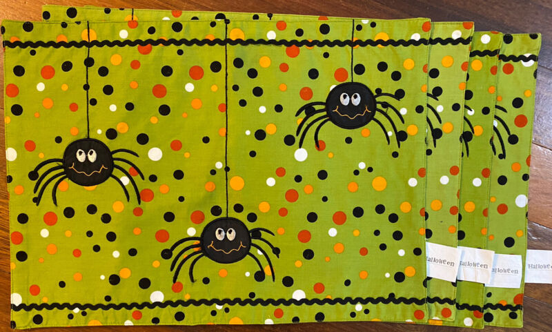Set of 4 Halloween Fabric Placemats Green w Spiders Polka Dots & Rick Rack Trim
