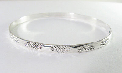 925 sterling silver extra large size bangle with feather design 3 1/8