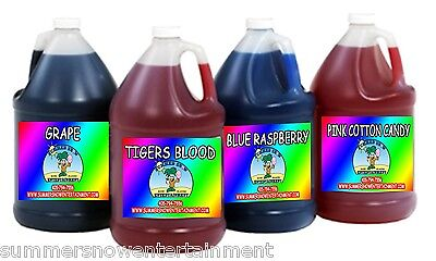 Sno Snow Cone Flavor Syrup - Mix Match 4 X Gallon Summer Snow Entertainment