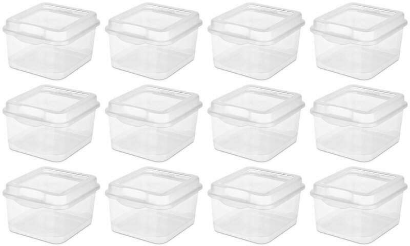 Sterilite Plastic FlipTop Latching Storage Box, Clear (12 Pack) 18038612