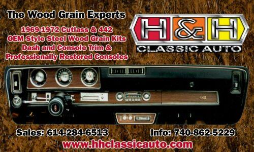 1970 1971 1972 Cutlass 442 3 Piece Wood Grain Dash Kit STEEL BACKED! OEM Quality