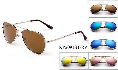 Stainless Steel Kids Aviator Sunglasses Spring Hinge Mini Top Gun Girls Boys  - Kids Aviators