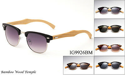 (Handmade Bamboo Wood Retro Horn Sunglasses Classic Vintage Design UV Protection)