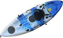 2.7M Kayak Single 5 Rod Holders Padded Seat Paddle Blue White Kings Park Blacktown Area Preview