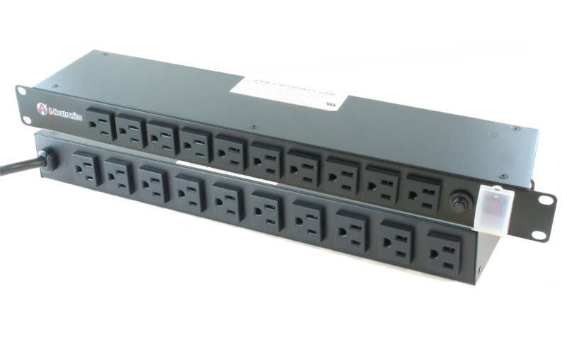 "20 Outlet - 19"" Inch Rack Mount Power Bar Distribution PDU Tap Strip 15 Amp - 1U"