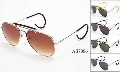 Vintage Metal Aviator Sunglasses Cable Temple Brow Bar Outdoorsman Eyewear (Brow Bar Sunglasses)