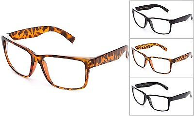 New Clear Lens glasses Vintage Retro Men Women Classic Large Plain Frame (Plain Lense Glasses)