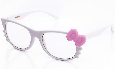 Clear Lens Glasses Bow & Whiskers Bright Rubber Frame Cosplay Hello Kitty (Hello Kitty Whiskers)
