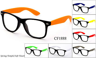 Nerd Party (Popular Clear Lens Glasses Party Colorful Retro Nerd Frames Two Tone UV)