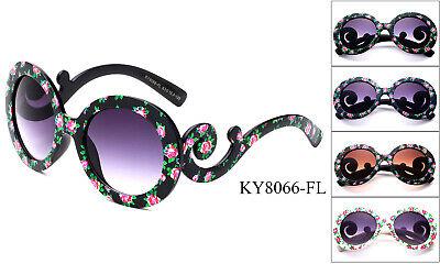Classic Womens Sunglasses Vintage Eyewear Flower Swirl Temple Designer UV (Sunglasses Vintage Flower)