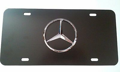 NEW Black 3D Logo Emblem Stainless Steel License Plate For Mercedes-benz - New Logo Plate