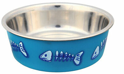 Trixie Non Slip Stainless Steel Printed Cat Feeding & Water Bowl In 3 Colours
