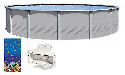 Galleria Above Ground Swimming Pool w/ Caribbean Liner & Skimmer (Choose Size)