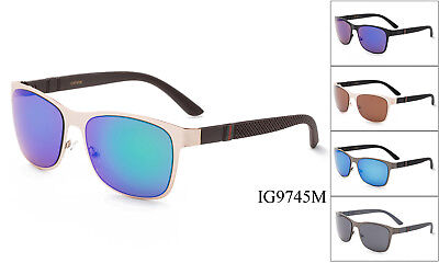 Rectangular Metal Aviator Men Sunglasses with Striped Accents Temple w/UV (Men With Shades)