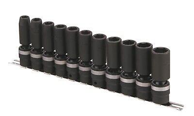 Genius Tools 11pc 12 Dr. Metric Deep Swivel Impact Socket Set - Tg-411md