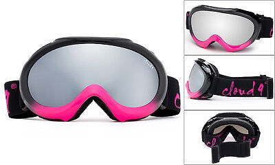 Kids Girls Ski Goggles 2 Tones Black Hot Pink SnowBoard Youth Dual Lens Anti Fog Pink Kids Goggles